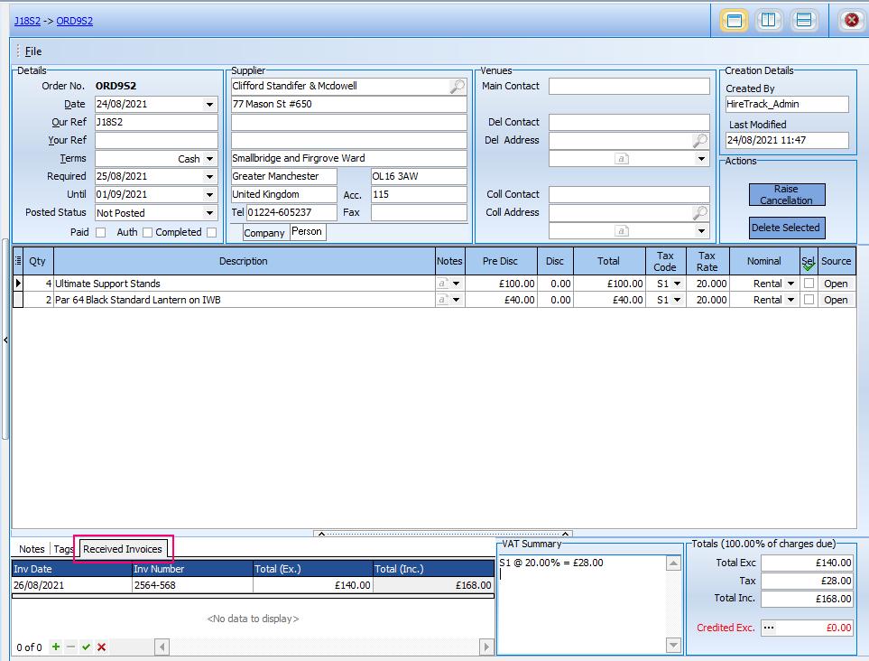 Purchase Order allocate Invoices