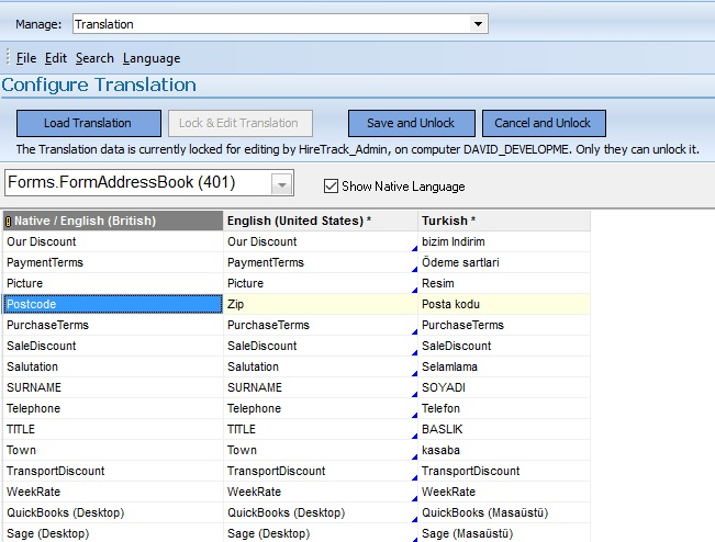 Translating HireTrack NX