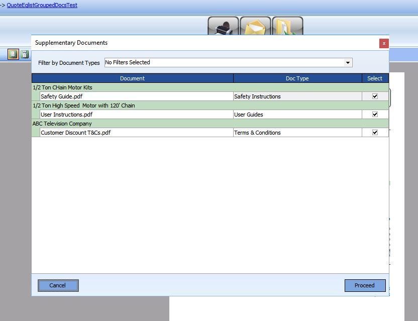 HireTrack NX Supplementary Documents Selector