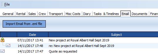 Incoming Email Screenshot