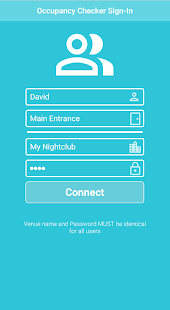 Screenshot visitor counter app login screen